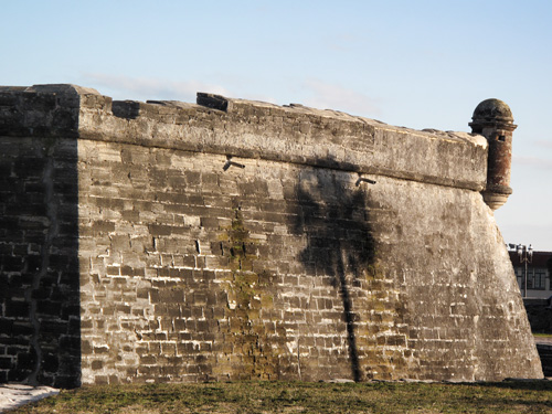 Shadow of palm tree on St Augustine Fort