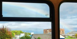 rainbow over Scotland off bus window