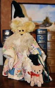 Santa Bear with cloak made from an antique quilt