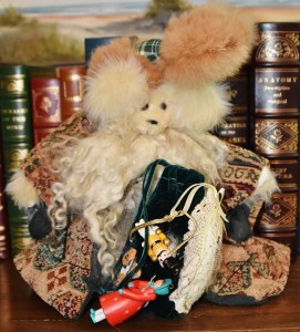 Santa Bear with tapestry cloak, velvet bag of toys, rabbit fur trimmed hat, mohair beard, tapestry paws, $45
