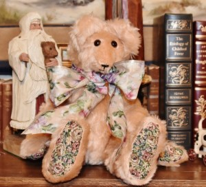 """Peaches, 15"""" peach mohair bear with tapestry paws--Sale Price $39"""