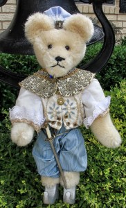 Prince Charming, string mohair, wooden body and wire arms--Regular price $165, Moving Sale--$79