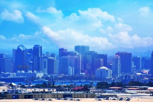San Diego Bay haze with overlay blue and sun (800x533)