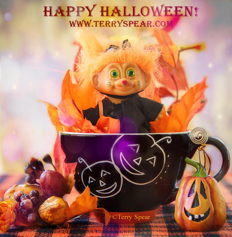 Happy Halloween Kitty Cat Troll doll in mug after removing reflection purple bokeh DSC_4108