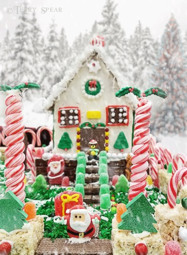 candy cane fence with snow background and snow