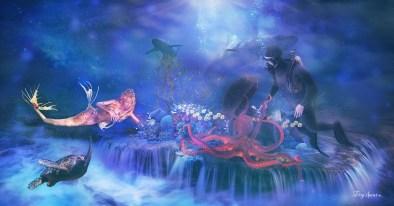 diver, shark, treasure, mermaid, turtle, octopus final