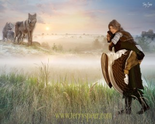 historical man carrying woman castle and wolves16000 font 16x20 Foggy Meadow