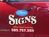 Magnetic signs don't have to be boring rectangles! This one is hand lettered.