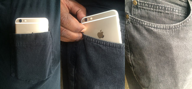 iPhone 6 Plus in my shirt pocket on the left and jeans pocket on the right