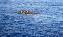 epaselect epa04712791 A handout picture made available by German shipping company Opielok Offshore Carriers (OOC) on 20 April 2015 shows a boat with refugees close to the cargo ship 'OOC Jaguar' in the Mediterranean sea on 12 April 2015. The ships of the German shipping company Opielok Offshore Carriers have rescued more than 1,500 people in the Mediterranean sea since December 2014. EPA/Opielok Offshore Carriers Mandatory Credit: Opielok Offshore Carriers HANDOUT EDITORIAL USE ONLY