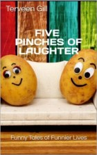Two smiling potato faces on a couch on a