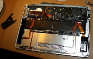 Logic board mounted in the MacBook Air casing