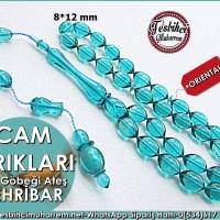 Cam Göbeği Ateş Kehribar Tesbih 8*12 mm Cam Kırıkları   Ürün Kodu: TM7644