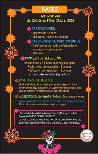 Convocatoria Festival di Catrinas -Requisiti- Mexico de mis colores