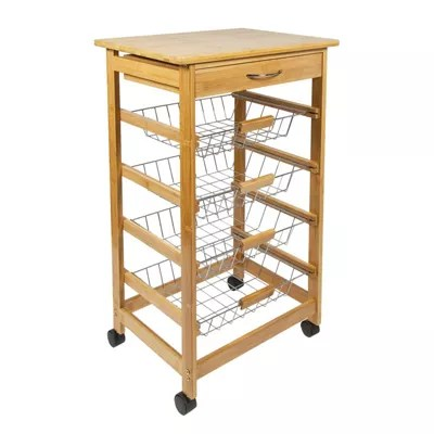 wire kitchen cart building a island buy woodluv bamboo storage trolley with drawer basket we no longer sell this product