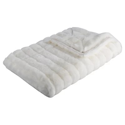 Buy Ribbed White Faux Fur Throw from our Throws Blankets