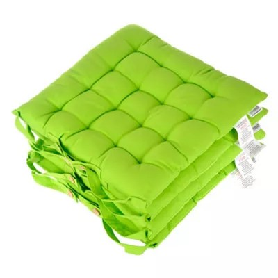 lime green chair pads stacking sling grey homescapes set of 4 cotton plain seat with button straps