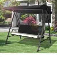 Buy Outsunny Black Outdoor 4 Seater garden rattan Swing ...