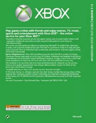Buy Xbox Live Gold 3 Month Membership Card With 1 Bonus