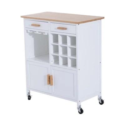 kitchen cart with drawers hardware ideas buy homcom rolling storage cabinet trolley wood on wheels w wine racks