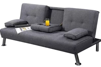 buy sofa bed new york metal and gl table grey fabric 3 seater small