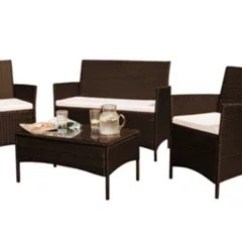 Outside Tables And Chairs Tesco Swing Chair B&m Comfy Living Rattan Garden Furniture 4 Piece Set In Brown