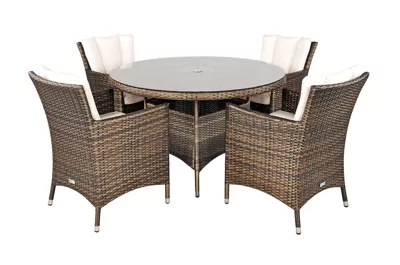garden chair covers the range fold out bed argos savannah rattan furniture 4 seat round glass top table dining set with free parasol