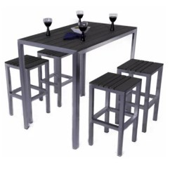 4 Seater Outdoor Table And Chairs Antique Barber Chair Value Buenos Rectangular Brushed Stainless Plaswood