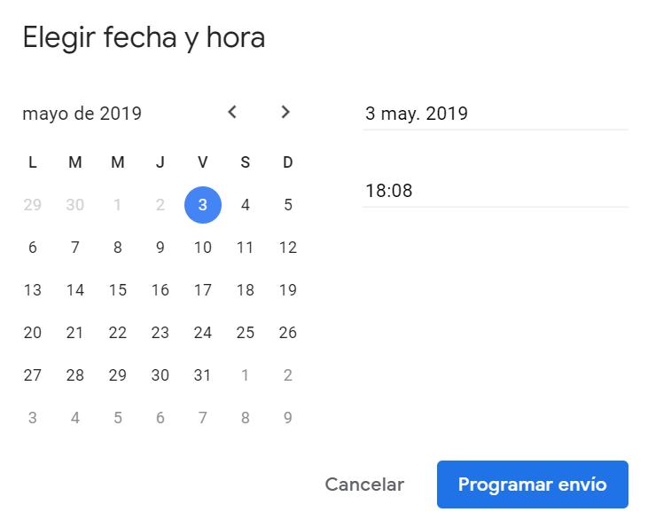 Elige una fecha y la hora personalizada por ti para programar el envío del correo