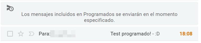 Los mensajes incluidos en Programados se enviarán en el momento especificado