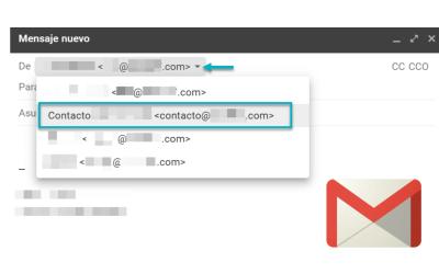 Enviar correo como si fuera otra dirección diferente a la original en Gmail