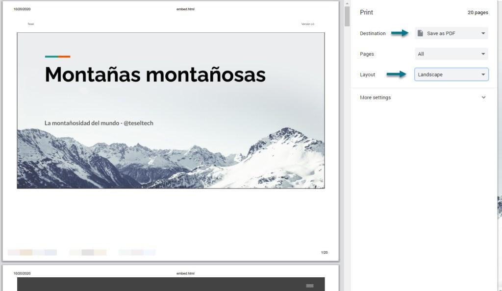 Configuramos la impresión del archivo PDF de la presentación