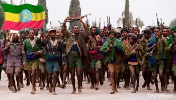 "The minority regime's  ""crab mentality"" is an obstacle to regional peace, stability and security.  (Photo: Trigger happy barefoot Tigray Militia soldiers)"