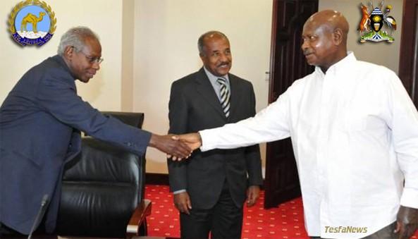 Foreign Minister Osman Saleh delivering President Isaias' message to Ugandan President Yoweri K. Museveni on 12 FEB 2014