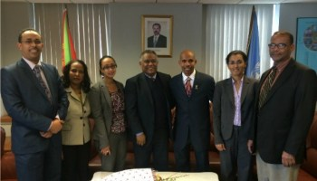 Meb Kiflezghi together with Ambassador Girma Asmerom and staff of the Eritrean Permanent Mission at the UN