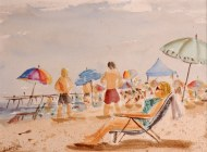 "At the beach (9""x12"" WC)"