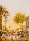 """Mumbai Street Scene"". 12×9. Watercolor on paper."