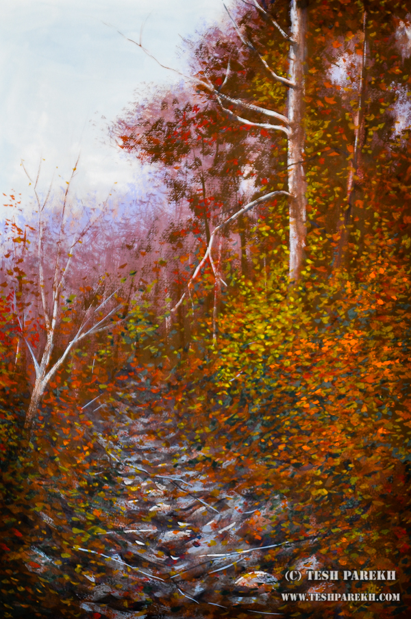 Secret Creek Autumn – A gouache panting by Raleigh NC fine artist