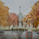 After the rain - NC State Capitol. 16x20. Watercolor on paper. Artist - Tesh Parekh