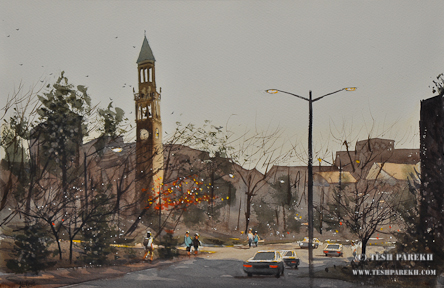 Watercolor painting of UNC Bell Tower – en plein air in Chapel Hill by Raleigh Fine Artist