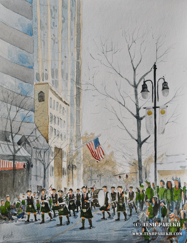 Charlotte's St. Patrick's Day Parade – a watercolor painting by Raleigh Fine Artist