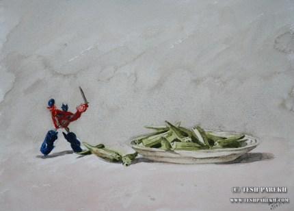 Optimus vs Okra. 9x12. Watercolor on paper.
