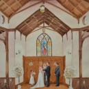 Wedding Painting of Kathe and Todd. All Saints Chapel Ceremony. 16x20 watercolor on paper. Studio commission.