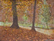Autumn gold. Watercolor painting on paper.
