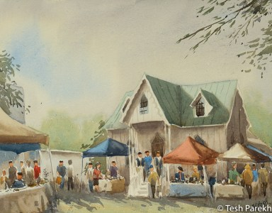 Cary Farmer's Market by Tesh Parekh. Plein air watercolor