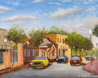 Cary Downtown by Tesh Parekh. Plein air oil painting