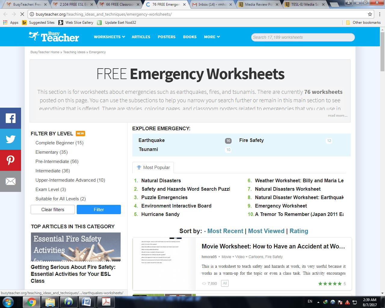 Worksheet Tsunami Earthquake