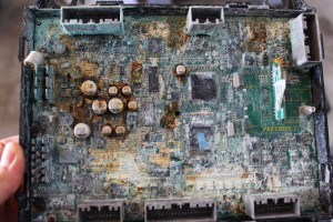 Many of the electronics near the floor were severely damaged by the saltwater