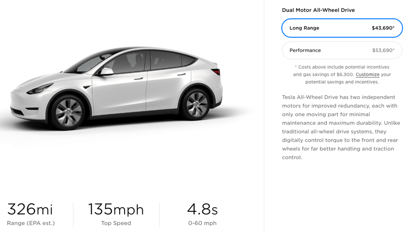 Tesla model y range increase