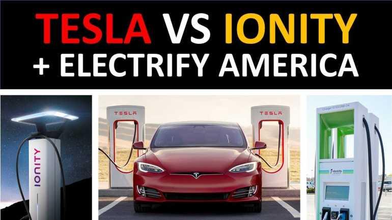 Нагнетатели Tesla против Ionity & Electrify America: местоположение, скорость, стоимость